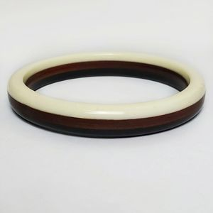 Vintage Mod Laminated Lucite Wood Bangle Bracelet